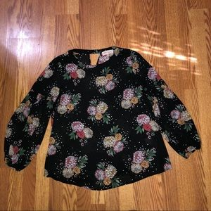 Philosophy Black Floral Polka Dot Blouse Sz Med